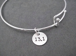 Expandable Bangle Bracelet - RUN YOUR DISTANCE Sterling Silver Charm on Adjustable Expandable Silver Plated Bangle Bracelet - Choose RUN, 5K, 10K, 13.1 or 26.2 - Sterling Silver Charms