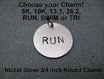 Nickel Silver ROUND 3/4 inch CHARM - Choose your Distance