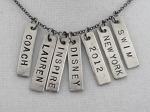CUSTOM NAME,SCHOOL,YEAR or WORD Pendant - Nickel Silver RECTANGLE 1/4 x 1 inch hand hammered CHARM - Up to 9 Characters