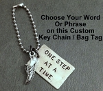 CUSTOM Personalized PERSONALIZED Key Chain - Pewter and Nickel pendants with 4 inch Stainless Steel Ball Chain
