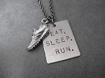 EAT SLEEP RUN with RUNNING SHOE NECKLACE - 3/4 x 1 inch Nickel Silver pendant plus 3/4 inch Pewter Running Shoe Charm priced with Gunmetal Chain