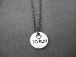 HEART TO RUN Pewter Pebble Pendant Necklace - Pewter pendant priced with Gunmetal chain