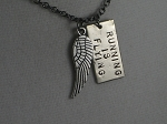 RUNNING IS FLYING Necklace - Choose to add 5K, 10K, 13.1, 26.2 - Nickel pendants and pewter charm priced with Gunmetal chain