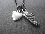 Pewter HEART AND SOLE - Pewter pendants with Gunmetal chain