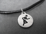 ROUND RUN Unisex Sterling Silver Runner Charm priced with Leather and Sterling Silver Necklace