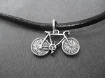 BIKE Sterling Silver BIKE Charm priced with Leather and Sterling Silver Necklace