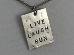LIVE LAUGH!  Choose RUN, YOGA or LOVE - Nickel pendants with Gunmetal Chain