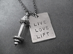 LIVE LOVE LIFT with BARBELL Workout Necklace - Nickel pendant with Pewter Barbell Charm priced with Gunmetal Chain