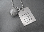 LIVE LOVE LIFT 1 Pendant KETTLE BELL WORKOUT Necklace - Nickel Silver hand hammered pendant and Pewter charm priced with Stainless Steel Ball Chain