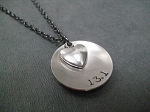 LOVE (HEART) DISTANCE Necklace - Choose 5K, 10K, 13.1 or 26.2 - Nickel Silver Pendant and Pewter Heart priced with Gunmetal chain