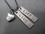 LIVE LOVE LIFT with HEART Necklace - Nickel pendants priced with Gunmetal Chain