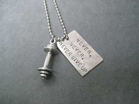 Never never never give up with barbell necklace nickel pendant never never never give up with barbell necklace nickel pendant with pewter barbell charm priced with gunmetal chain aloadofball Images
