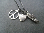 PEWTER PEACE LOVE RUN, BIKE, SWIM or YOGA - Pewter pendants priced with Gunmetal chain