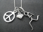 STERLING SILVER PEACE LOVE RUN - Sterling silver pendants with Sterling Silver or Leather and Sterling Chain