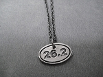 26.2 Marathon Pewter Oval Running Necklace - Pewter pendant priced with Gunmetal Chain