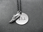 RUN DISTANCE Round Charm Necklace with Pewter Running Shoe - Nickel pendant priced with Gunmetal Chain