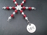 10K Ornament - Round Pewter 10K Pendant Dangling from a Hand Beaded Snowflake Ornament - Choose your Color