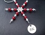 5K Ornament - Round Pewter 5K Pendant Dangling from a Hand Beaded Snowflake Ornament - Choose your Color