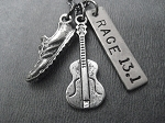 ROCK n ROLL RACE 13.1 or 26.2 - Choose your Distance - Nickel Silver and Pewter Pendants priced with Gunmetal chain