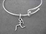 RUNNER GIRL Expandable Bangle Bracelet - Sterling Silver Charm on Adjustable Expandable Silver Plated Bangle Bracelet