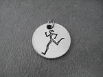 RUNNER GIRL Round Pewter Pendant Charm - The Run Home's Running Girl Charm available only at The Run Home - 3/4 inch Round