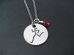 RUNNER GIRL Round Pendant with CRYSTAL Necklace - Choose Your Crystal - Pewter pendant priced with Gunmetal Chain