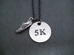 RUN DISTANCE Round Pewter Pendant PLUS Pewter Running Shoe Charm priced with Gunmetal Chain Choose 5K, 10K, 13.1 or 26.2
