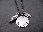 BELIEVE IN YOUR DISTANCE Running Shoe Necklace - Choose 5K, 10K, 13.1 or 26.2 - Pewter Running Shoe and Nickel pendants priced with Gunmetal chain