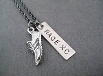 RACE XC with Running Shoe Charm - Nickel pendant plus Pewter Running Shoe priced with Gunmetal chain