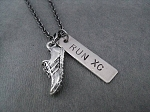 RUN XC with Running Shoe Charm - Nickel pendant plus Pewter Running Shoe priced with Gunmetal chain
