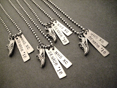 cross country or track running personalized necklace bracelet