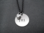 TRI LOVE Necklace - Nickel pendants and pewter charm priced with Gunmetal Chain