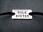 SOLE SISTER WRAP BRACELET / SHOE LACE PLATE - Nickel silver pendant with 36 inch micro fiber suede - Choose Your Color!