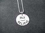 STERLING SILVER BELIEVE IN THE DISTANCE - Choose RUN , 5K, 10K, 13.1 HALF MARATHON, 26.2 MARATHON - Sterling Silver pendants on Sterling Silver Ball chain