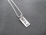STERLING SILVER RECTANGLE RUN YOUR DISTANCE - RUN, 5K, 10K, 13.1 or 26.2 - Sterling Silver Rectangle Charm on Sterling Silver or Leather and Sterling Chain