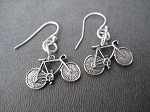 BIKE Sterling Silver Earrings - Sterling Silver pendants on a 12mm French Ear Wire with a 2mm ball