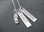 STERLING SILVER Shoe Print or 3 Dimensional Running Shoe SOLE SISTER 2 PENDANT Necklace with Sterling Silver pendants on Sterling Silver or Leather and Sterling Chain