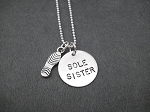 Sterling Silver SOLE SISTER with Running Shoe Necklace - Sterling silver pendants on Sterling Silver or Leather and Sterling Chain