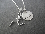 GIRLS RUN DISTANCE Sterling Silver Necklace -Sterling Silver Runner Girl Plus DISTANCE Charm on Sterling Silver chain or Leather and Sterling