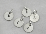 Sterling Silver ROUND 7/16 inch INITIAL CHARM - Choose Your Initial