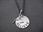 Runner Girl BELIEVE Necklace - Sterling Silver Runner Girl Charm with Nickel Believe pendant priced with Gunmetal chain