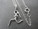 STERLING SILVER RUNNER GIRL Necklace on Petite 18 inch 1.4mm Sterling Silver Flat Cable Chain