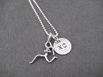 GIRLS RUN XC Sterling Silver Necklace -Sterling Silver Runner Girl Plus XC Charm on Sterling Silver chain or Leather and Sterling