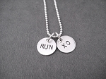 RUN XC - Cross Country Sterling Silver 2 Disc Necklace - Sterling Silver pendants on Sterling Silver or Leather and Sterling Chain