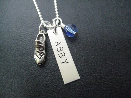 Sterling Silver RUN SHOE CHARM Personalized NAME 4e2078703d