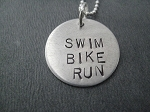 Sterling Silver SWIM BIKE RUN Necklace - Sterling silver pendant on Sterling Silver or Leather and Sterling Chain