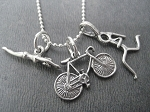 STERLING SILVER SWIM BIKE RUN - Choose your RUN Charm - Sterling silver pendants on Sterling Silver or Leather and Sterling Chain