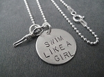 Sterling Silver SWIM LIKE A GIRL Necklace - Sterling silver pendants on Sterling or Leather and Sterling Chain
