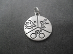Sterling Silver SWIM BIKE RUN ROUND Charm - almost 1 inch Round - 1.5mm thick