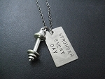 STRONGER EVERY DAY with BARBELL Necklace - Nickel pendant with Pewter Barbell Charm priced with Gunmetal Chain